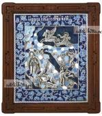 Святой Илья Пророк икона серебряная с эмалью артикул 13208