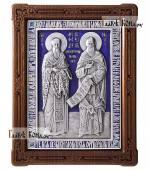 Святые Кирилл и Мефодий серебряная икона с эмалью артикул 13204