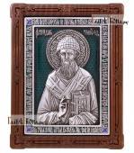 Спиридон Тримифунтский икона серебряная с эмалью артикул 13202