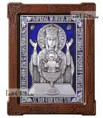 """Серебряная икона с эмалью """"Неупиваемая Чаша"""" артикул 13201"""