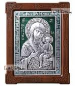 Иверская Пресвятая Богородица серебряная икона с эмалью артикул 13200