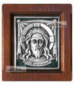 Образ Спаса Нерукотворного серебряная икона с эмалью артикул 13131