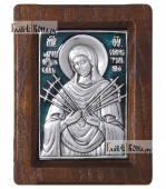Образ Семистрельной Божией Матери серебряная икона с эмалью артикул 13125