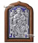 """Божия Матерь """"Всецарица"""" серебряная икона с эмалью артикул 13123"""