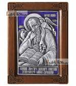Иоанн Богослов серебряная икона в рамке с эмалью артикул 13111