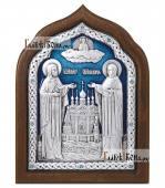 Петр и Феврония серебряная икона с эмалью артикул 13167
