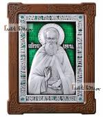 Серебряная икона с эмалью святого преподобного Сергия Радонежского артикул 13148