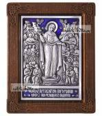 """Серебряная икона """"Всех скорбящих Радость"""" Божия Матерь с ювелирной эмалью"""