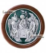 Троица икона из серебра круглая покрытая эмалью в рамке артикул 13142