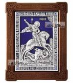 Серебряная икона с эмалью святого Георгия Победоносца  артикул 13210