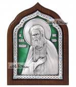 Преподобный Серафим Саровский серебряная икона с эмалью артикул 13166