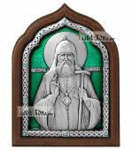 Патриарх Тихон Московский икона из серебра с эмалью артикул 13165