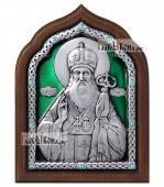 Серебряная икона Тихона Задонского с эмалью, артикул 13164
