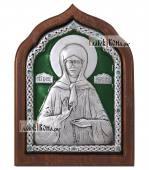 Сереребряная икона Матроны Московской с эмалью артикул 13163