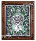 Серебряная икона Троицы с апостолами, артикул 13209 - зеленая эмаль