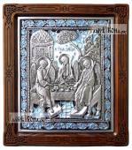 Серебряная икона Троицы копия с иконы 17-го века покрытие эмалью