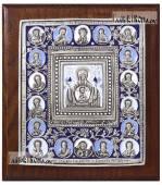 """еребряная икона Божией Матери """"Знамение"""" покрытая эмалью артикул 13151"""