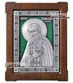 Святой Серафим Саровский икона из серебра с эмалью артикул 13149
