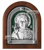 Серебряная икона Спасителя оплечное изображение покрытая эмалью артикул 13154