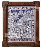 Рождество Христово, икона из серебра с эмалью и деревянной рамкой, артикул 13207