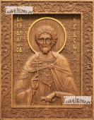 Александр Невский в греческом стиле - фотография резной иконы артикул 25001-02