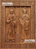Маркиан и Мартирий Константинопольские - фотография резной иконы, артикул 25094-01