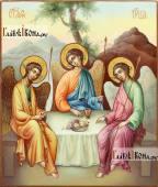 Фотография иконы Троицы, написанной маслом в живописнмо стиле, артикул 909