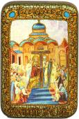 Воздвижение креста Господня икона подарочная в футляре 10х15 см