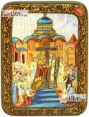 Воздвижение креста Господня икона подарочная на дубовой доске 15х20 см