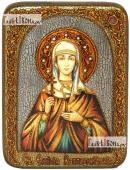 Эмилия Каппадокийская, икона подарочная на дубовой доске, 15х20 см