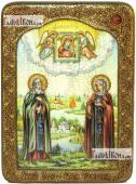 Петр и Феврония (с пейзажем), аналойная подарочная икона