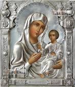 Иверская икона с серебряном окладе на доске