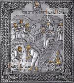 Рождество Христово, икона с серебряном окладе на доске