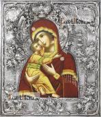 Владимирская Божия Матерь (с короной), икона с серебряном окладе на доске