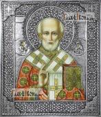 Николай Чудотворец (без митры), икона с серебряном окладе на доске