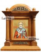 Икона Николая Чудотворца в киоте-подставке из дуба, артикул 586
