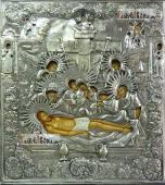 Положение во гроб Иисуса Христа, икона с серебряном окладе на доске