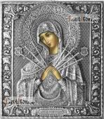 Семистрельная Божия Матерь икона в полном серебряном окладе на доске