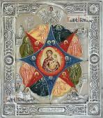 Неопалимая Купина, икона с серебряном окладе на доске