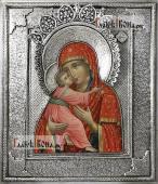 Владимирская икона с серебряном окладе на доске