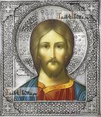 Спаситель (оплечный), икона с серебряном окладе на доске