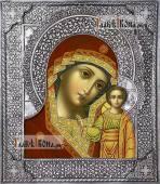 Казанская Божия Матерь икона с серебряном окладе на доске