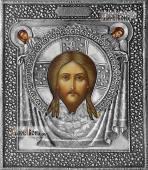 Спас Нерукотворный икона с серебряном окладе на доске