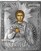 Дмитрий Солунский икона с серебряном окладе на доске