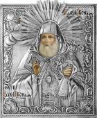 Митрофан Воронежский, икона с серебряном окладе на доске