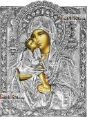 Донская Божия Матерь, икона в серебряном окладе на доске