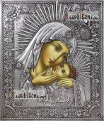 Корсунская Божия Матерь икона в серебряном окладе на доске