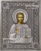 Спаситель поясной икона в полном серебряном окладе