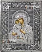 Владимирская, икона в полном серебряном окладе на доске