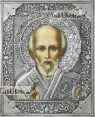 Николай Чудотворец без митры оплечный икона в серебряном окладе на доске